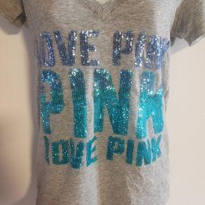 Size XS Victoria's Secret Love Pink Sequin Tee